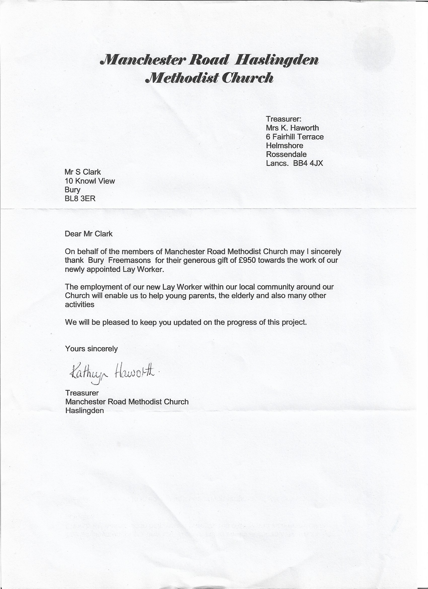 thank you letter from manchester road methodist church